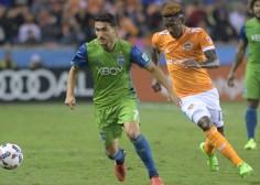 Seattle Sounders Midfielder Cristian Roldan #7 During a match between the Houston Dynamo vs Seattle Sounders FC
