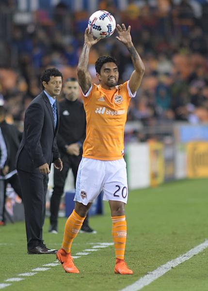 Houston Dynamo Defender A.J. DelaGarza #20 During a match between the Houston Dynamo vs Seattle Sounders FC