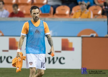 Houston Dynamo Forward Vicente Sanchez #10 walks towards the bench Prior to a game between the Houston Dynamo and Columbus Crew SC, week 2 of the 2017 MLS season, The Dynamo would win by a score of 3-1