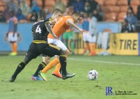 Houston Dynamo Forward Erick Torres #9 controls the ball During a game between the Houston Dynamo and Columbus Crew SC, week 2 of the 2017 MLS season.The Dynamo would win by a score of 3-1