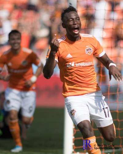 Houston Dynamo Forward Alberth Elis #17 celebrates after scoring During a match between the Houston Dynamo vs San Jose Earthquakes, Goals from Houston Dynamo Forward Erick Torres #9and Houston Dynamo Forward Alberth Elis #17 Would earn the dynamo a win by a score of 2 to 0.April 22,2017 BBVA Compass Stadium