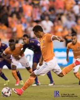 Houston Dynamo Forward Mauro Manotas #19 takes a pk During a match between the Houston Dynamo vs Orlando City SC,Week 10 of the MLS.Houston Tx.2017