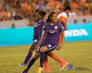 Orlando Pride Forward Marta #10 reacts after scoring goal number two of the match between the Houston Dash vs Orlando Pride Final Score Dash 2,Orlando 4 ,Houston Tx, 2017.