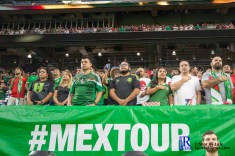 Fans Stand for the national anthem prior to a match between Mexico National Team and Ghana National Team at NRG Stadium ,June 28,2017 Houston Tx.