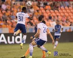 F.C Dallas Defender Maynor Figueroa #31 head the ball During a match between the Houston Dynamo vs Dallas FC,June 23,2017 Houston Tx.