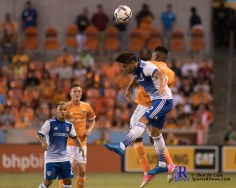 Houston Dynamo Forward Romell Quioto #12 Heads the ball During a match between the Houston Dynamo vs Dallas FC,June 23,2017 Houston Tx.