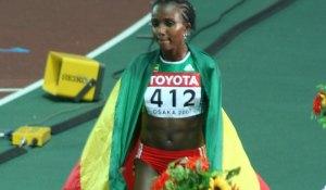 World Athletics Championships 2007 in Osaka - Women's 10000 Meter Champion Tirunesh Dibaba celebrating. Photo by Eckhard Pecher.