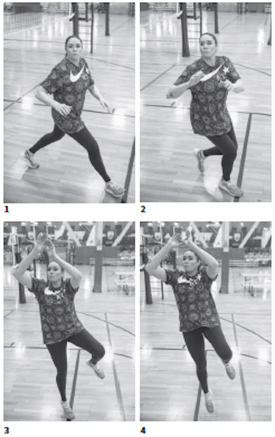 Lindsey Berg shows how to Step, crossover off one leg is more advanced than the two-step movements.