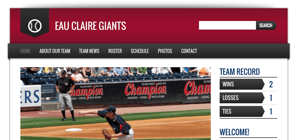 wordpress baseball team theme