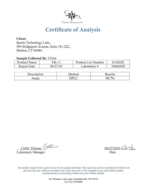 YK-11 certificate of analysis