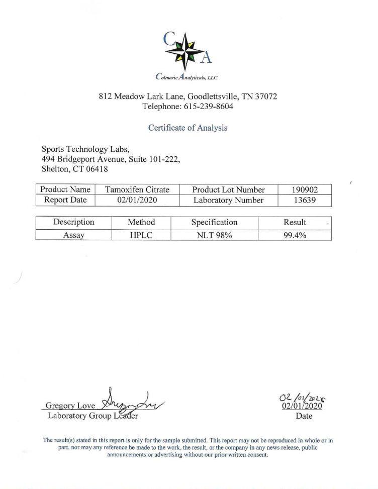 tamoxifen certificate of analysis