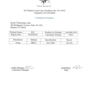 Third party lab test results for Sports Technology Labs S23 showing minimum 99.3% Purity