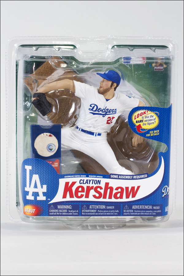 Clayton Kershaw White Jersey with Authentic Baseball Piece