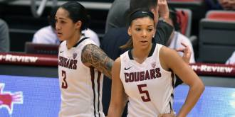 Lia Galdeira and Tia Presley combined for 40 points against UW on Friday. (Courtesy of WSUCougars.com)