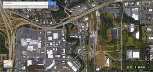 Pictured: I-405, West Valley High Way (181), Sounder Station, and South Center Mall.