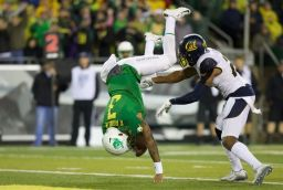 Vernon Adams torched Cal's defense through the air and on the ground as Oregon picked up its sixth win. (Scott Olmos/USA TODAY Sports)