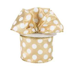 Gold and White Polka Dot Ribbon