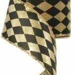 Gold and Black Harlequin Ribbon, RG01471RF