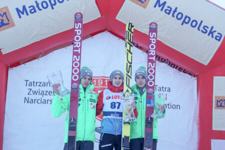 FIS Cup Zakopane 2017 - Podium 1. Ulrich Wohlgenannt, 2. Matjaž Pungertar, 3. Timi Zajc (2)