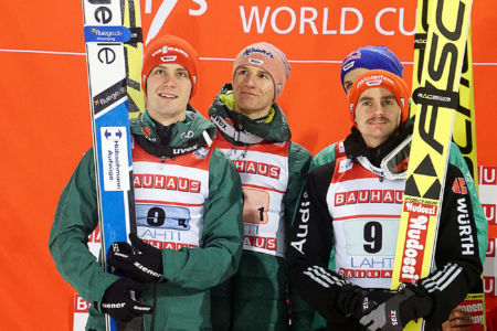 PŚ Lahti 2019 - Stephan Leyhe, Richard Freitag, Karl Geiger i Andreas Wellinger