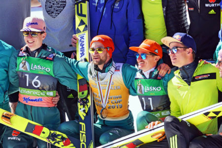 PŚ Planica 2019 - Karl Geiger, Markus Eisenbichler, Richard Freitag i Andreas Wellinger