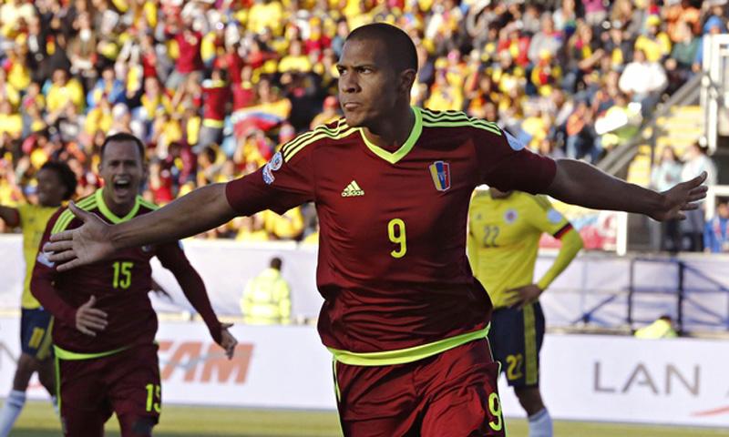 José Salomón Rondón celebrates scoring for Venezuela against Colombia at the Copa America