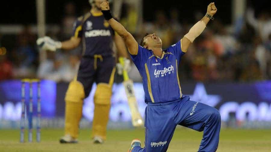 Praveen Tambe celebrates his hattrick wicket of ten Doeschate