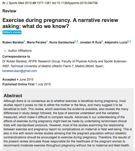 Sport und Schwangerschaft aus wissenschaftlicher Sicht