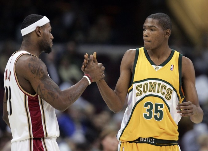 Kevin Durant shakes hand with James LeBron while playing for the Seattle Supersonics in 2008