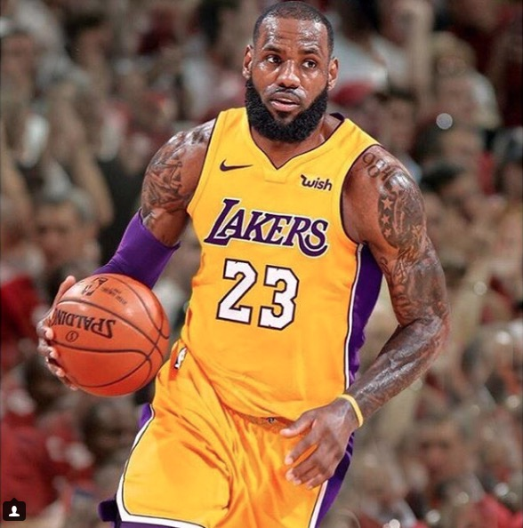LeBron James playing for the Lakers