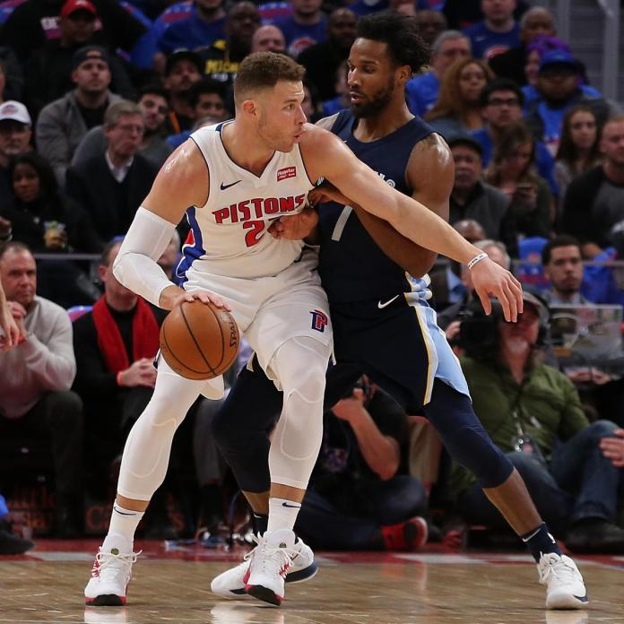 Blake Griffin in his debut game for the Pistons
