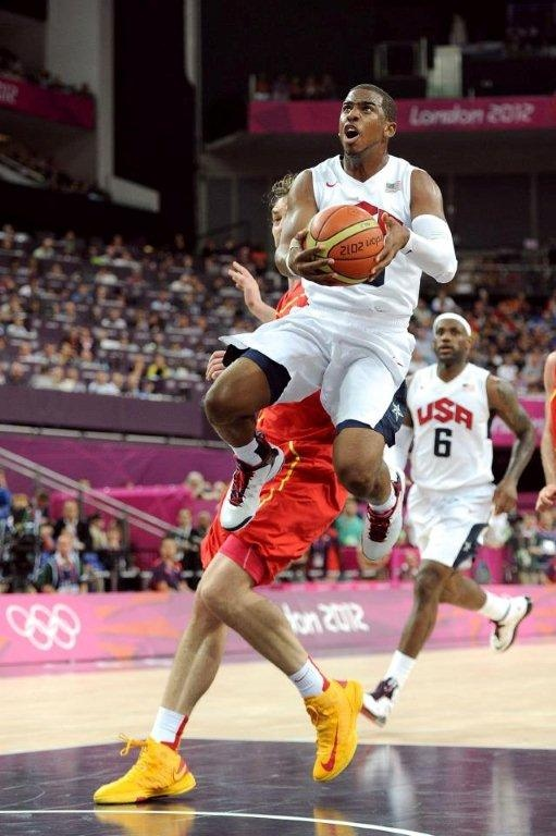 Chris Paul scores in the US triumph over Spain at the London 2012 Olympics