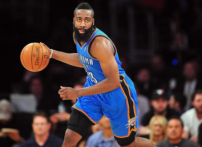 Harden eyes the net while in action for the thunders