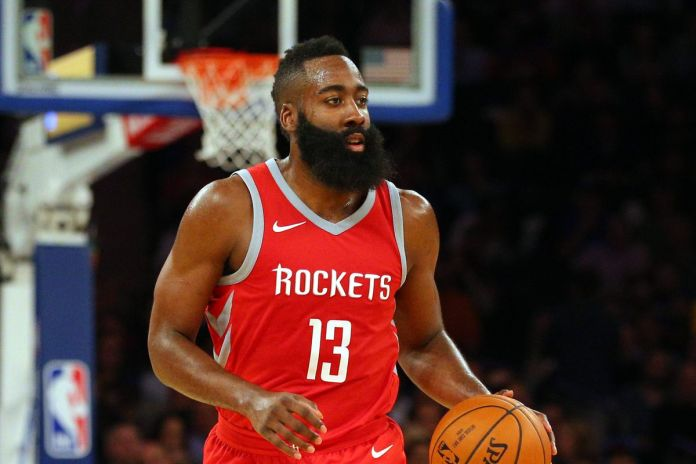 James Harden playing for the Houston Rockets