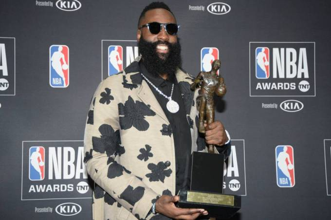 James Harden poses with his MVP award, June 25, 2018