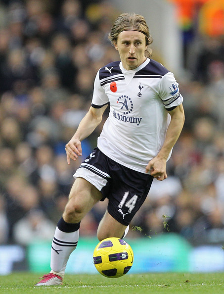 Luka Modric playing for Tottenham Hotspur