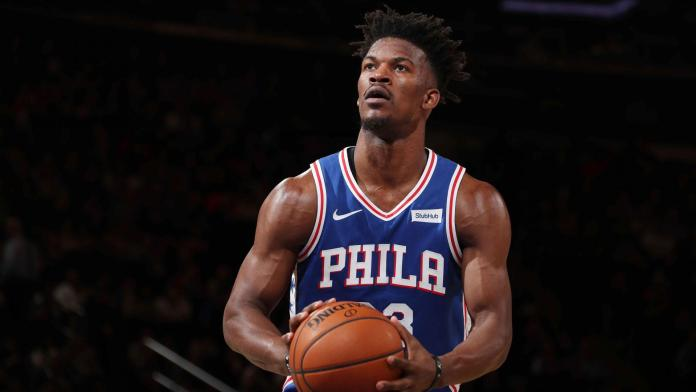 Jimmy Butler taking a Freethrow for Philadelphia 76ers