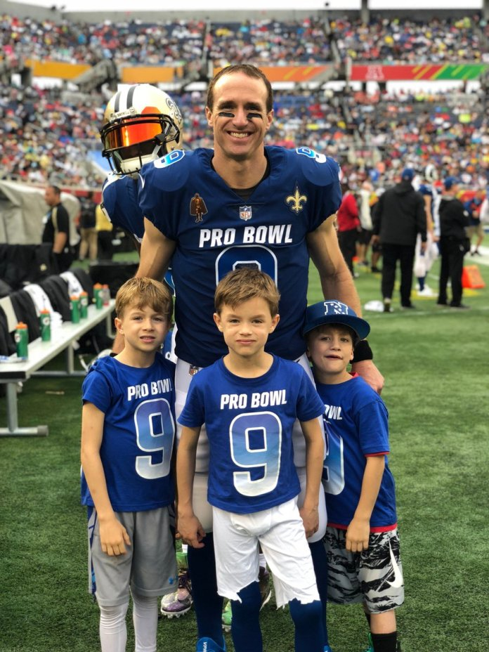 Drew Brees of New Orleans Saints and his sons