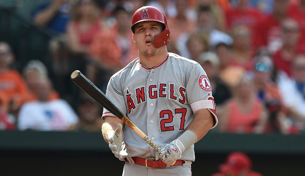 Mike Trout playing for Los Angeles Angels in 2018