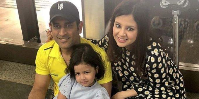 MS Dhoni with his wife and daughter