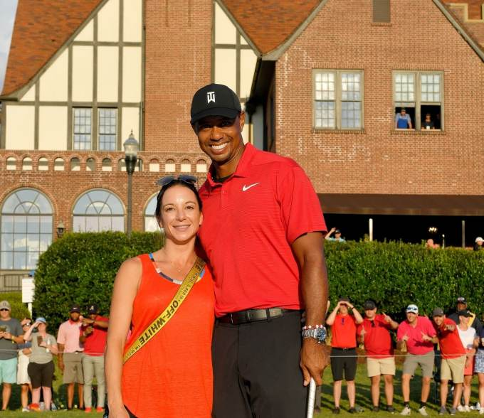 Tiger Woods pictured with his girlfriend Erica Herman