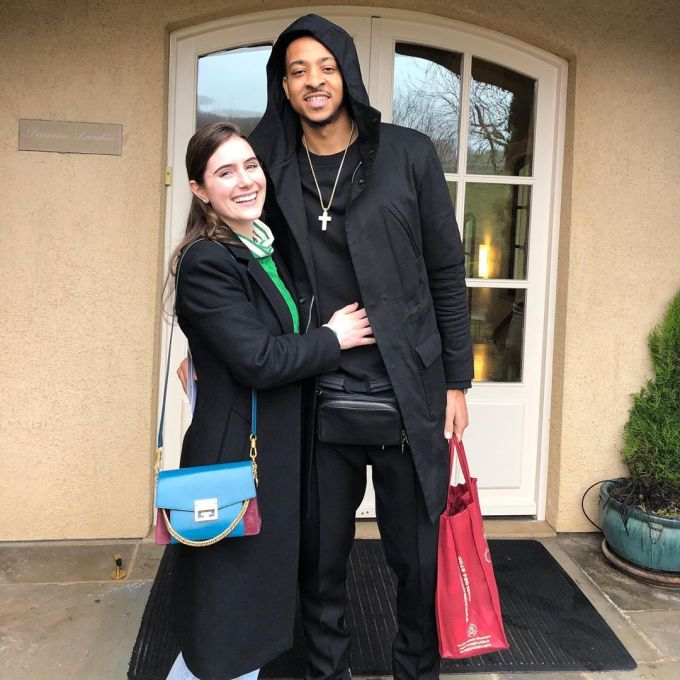 Photo of CJ McCollum with his fiancee, Elise Esposito