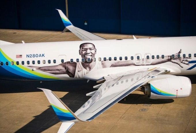 Kevin Durant Face on Alaska Airlines