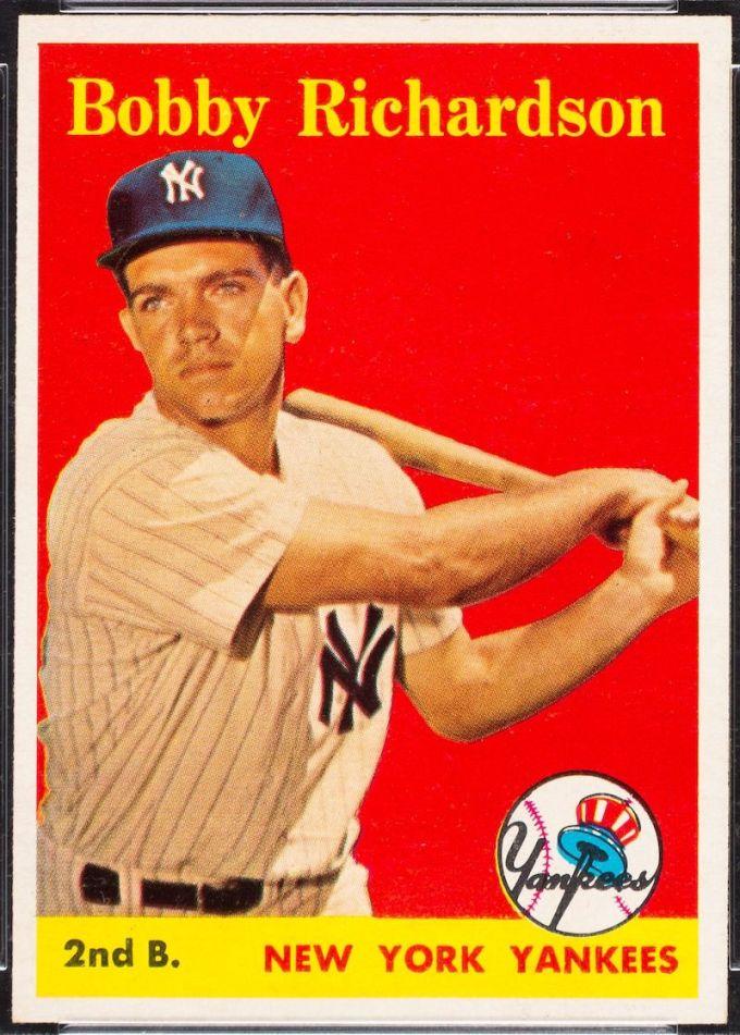 1958 Topps Bobby Richardson Baseball Card Yellow Name