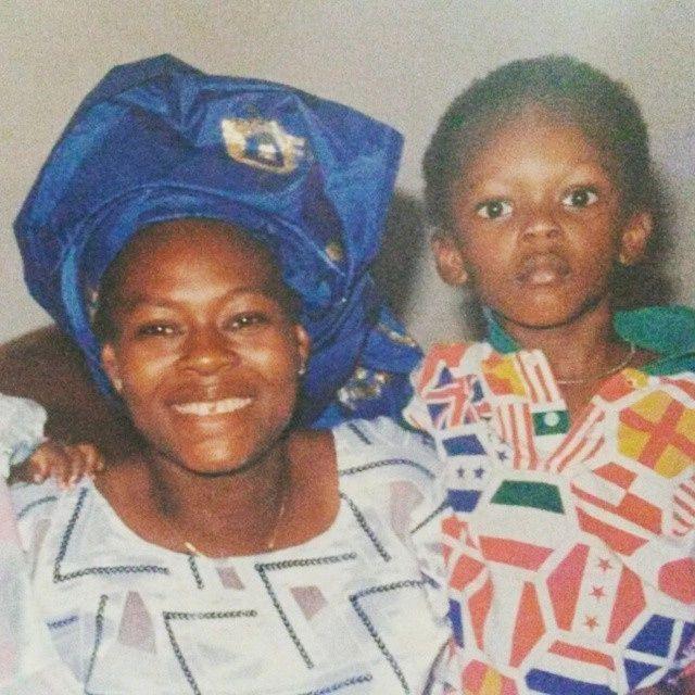 Israel Adesanya childhood photo with his mother