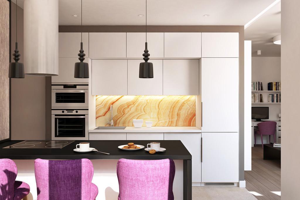 Amenajarea unui apartament în culori neutre, odihnitoare, cu accente violet