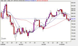 Daily Chart Spot Gold Prices - January 16th 2009