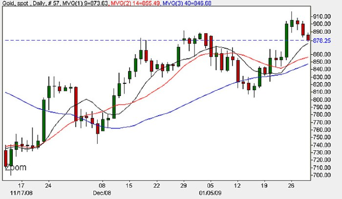 Spot Gold Prices Today - Daily Chart For Spot Gold January 29th 2009