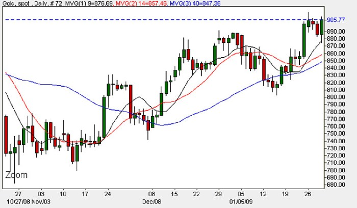 Spot Gold Prices - Daily Candle Chart January 30th 2009