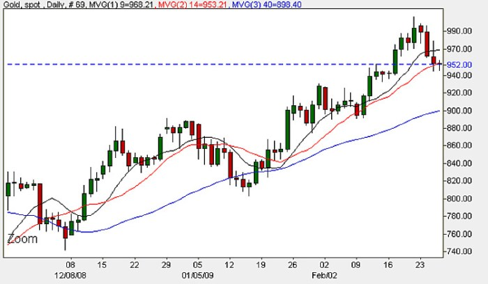 Daily Candle Chart Spot Gold - 26th February 2009